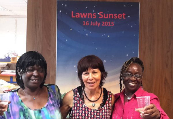 Three Hackney Silver Surfers at the Lawns Sunset party, 16 July 2015